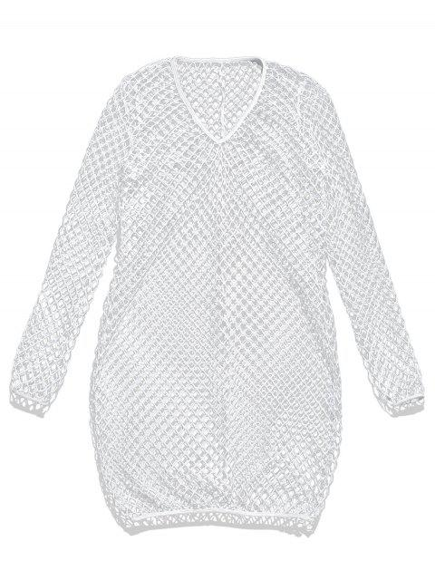 Camiseta de túnica de calaveras de manga larga - Blanco L Mobile