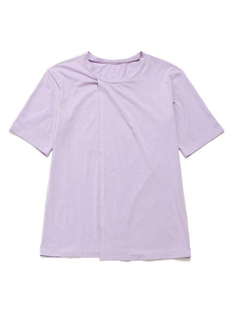 ZAFUL Casual Split Boyfriend Túnica Camiseta - Color de malva M Mobile