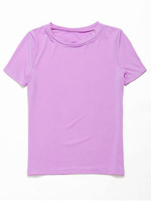 ZAFUL Camiseta de gimnasia elástica de manga corta y delgada - Color de malva L Mobile
