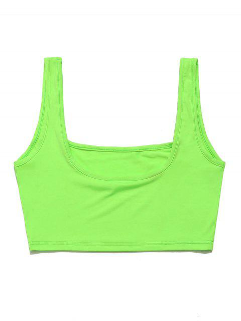 ZAFUL U Neck Neon Crop Gym Tank Top - Verde de Pistacho L Mobile