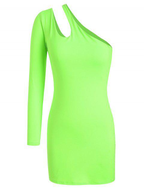 ZAFUL un vestido ajustado con corte de neón de un hombro - Verde de Pistacho S Mobile