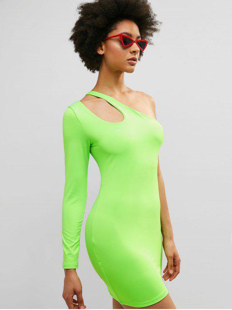ZAFUL un vestido ajustado con corte de neón de un hombro - Verde de Pistacho M Mobile