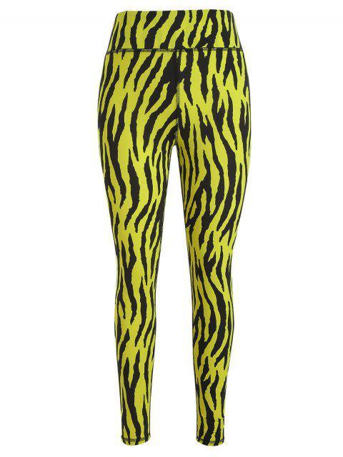 Leggings deportivos de yoga de gran altura con estampado de cebra de ZAFUL - Multicolor M Mobile