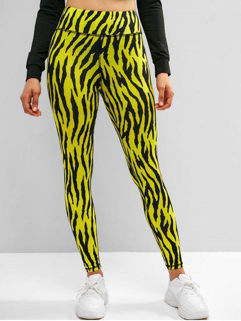 Leggings deportivos de yoga de gran altura con estampado de cebra de ZAFUL - Multicolor L Mobile