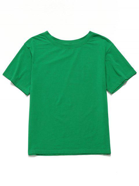 Camiseta boyfriend de manga corta sólida ZAFUL - Verde de Jungla  S Mobile