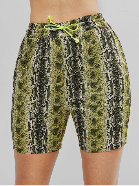 Shorts de lazo con estampado animal de piel de serpiente ZAFUL - Multicolor L Mobile