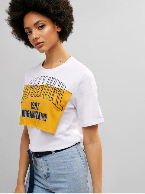 Camiseta de algodón de manga corta bordada con letras - Blanco M Mobile