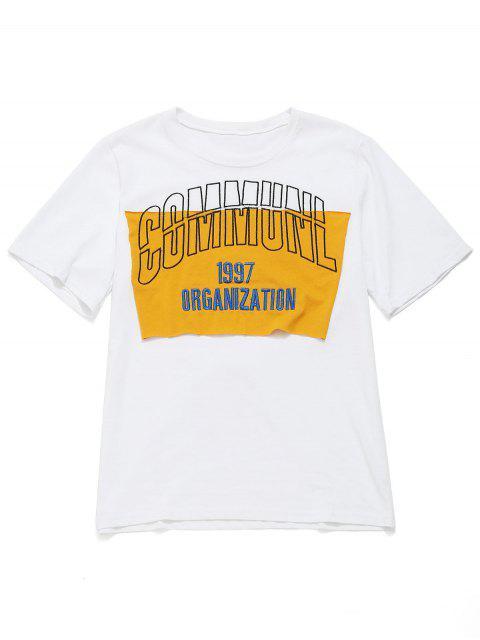 Camiseta de algodón de manga corta bordada con letras - Blanco XL Mobile