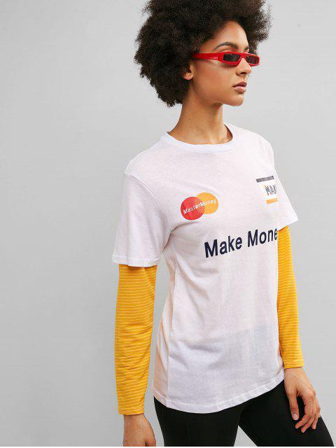 Camiseta de túnica de algodón de ganar dinero - Blanco L Mobile
