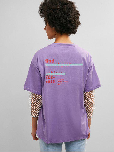 Túnica con hombros caídos, gráfico, camiseta para novio - Color de malva L Mobile