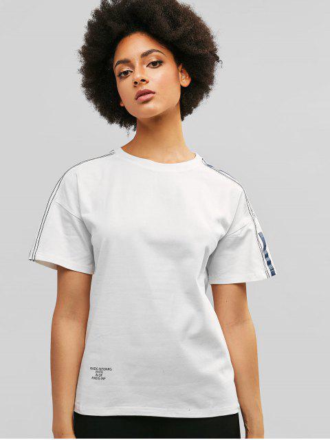 Camiseta boyfriend manga corta gota hombro - Blanco L Mobile