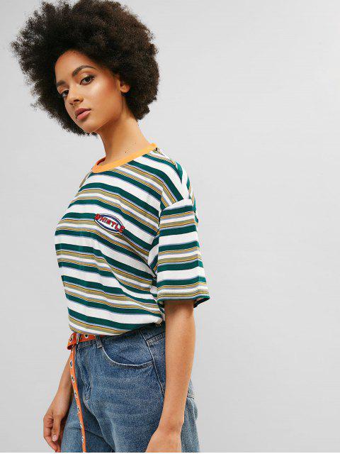 Camiseta de túnica boyfriend con rayas en los hombros caídos - Verde de Mar  L Mobile