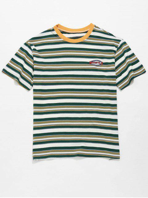 Camiseta de túnica boyfriend con rayas en los hombros caídos - Verde de Mar  XL Mobile