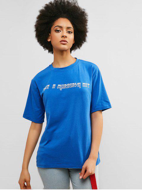 Camiseta Túnica Boyfriend Gráfica Reflectante - Azul de Arándanos L Mobile