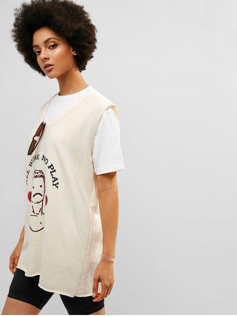 Camiseta sin mangas con gráfico y dobladillo largo sin mangas - Blanco Cálido Talla única Mobile