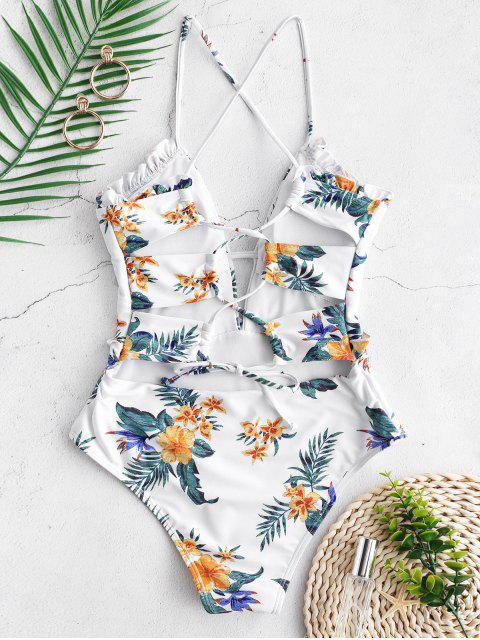 womens ZAFUL High Rise Flower Frilled Lace-up Swimsuit - MULTI-A M Mobile