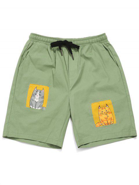 Pantalones cortos con bolsillo de gato con gráfico de Bermudas - Verde Oscuro de Mar M Mobile