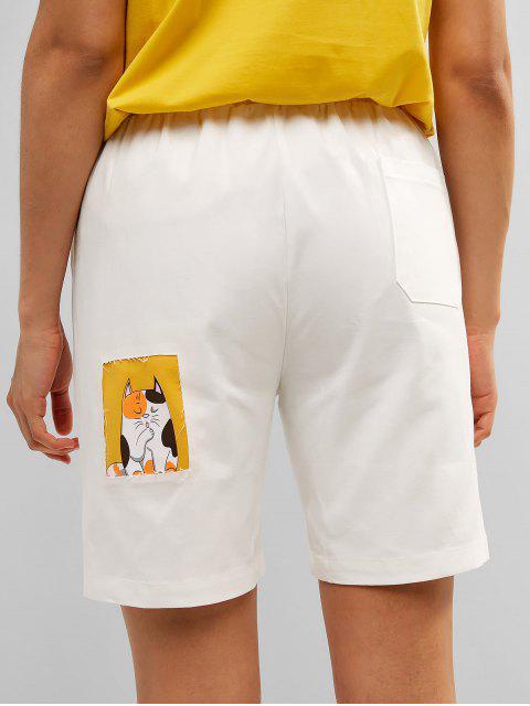 Pantalones cortos con bolsillo de gato con gráfico de Bermudas - Blanco L Mobile