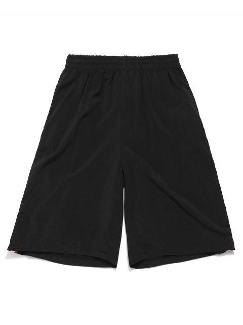 ZAFUL Star Graphic - Pantalones cortos de gimnasia hasta la rodilla - Negro M Mobile