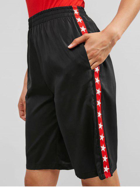 ZAFUL Star Graphic - Pantalones cortos de gimnasia hasta la rodilla - Negro L Mobile