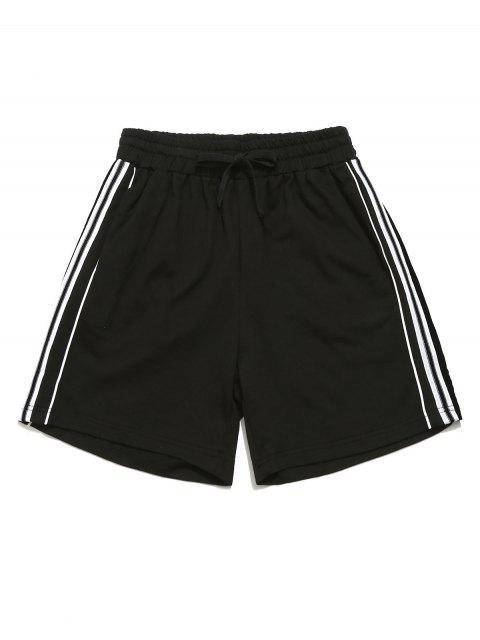 Shorts Contraste Con Cordones Con Bolsillo - Negro M Mobile