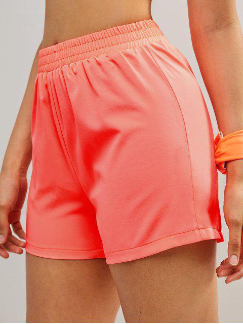 Shorts de gimnasio con cintura elástica de neón de ZAFUL - Naranja S Mobile
