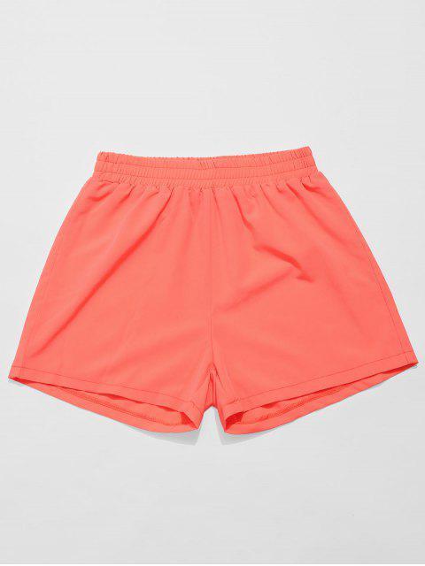 Shorts de gimnasio con cintura elástica de neón de ZAFUL - Naranja L Mobile