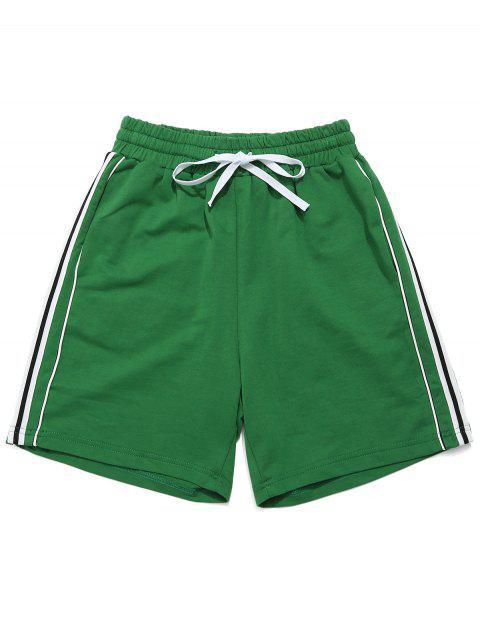 Shorts Contraste Con Cordones Con Bolsillo - Verde de Trébol  M Mobile