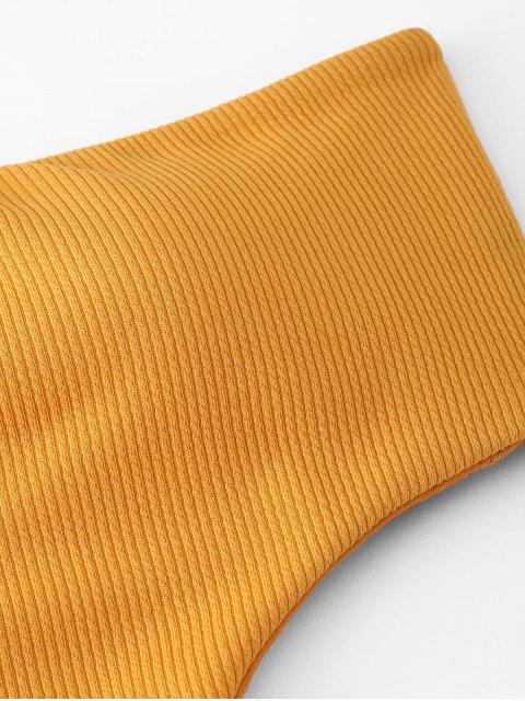 Monouini Bandeau acanalado con textura acanalada - Amarillo Brillante L Mobile