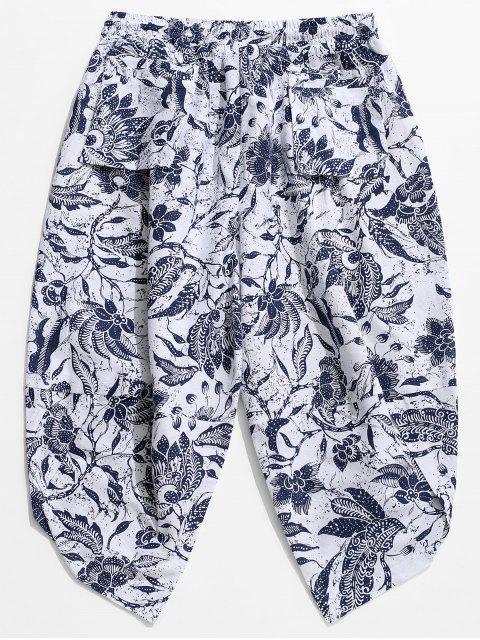 Pantalones de harén ocasionales con estampado floral en la entrepierna - Blanco M Mobile