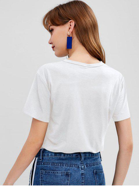 fashion Letter Graphic Front Jersey Tee - WHITE L Mobile