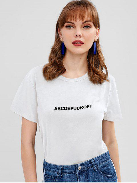 trendy Letter Graphic Front Jersey Tee - WHITE XL Mobile
