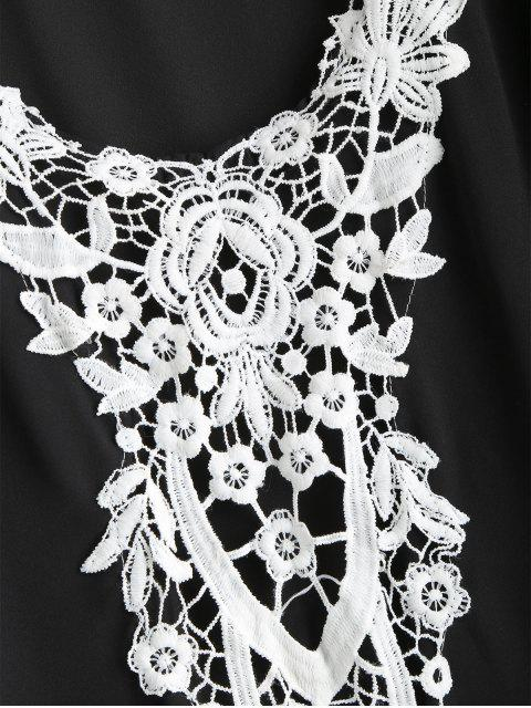 Robe Poncho Fleur Brodée à Pompon - Noir L Mobile