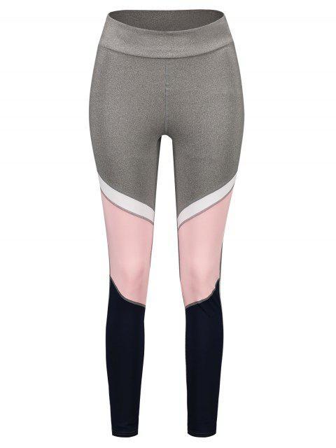 Leggings Deportivos de Cintura Alta de Color Bloque - Multicolor L Mobile
