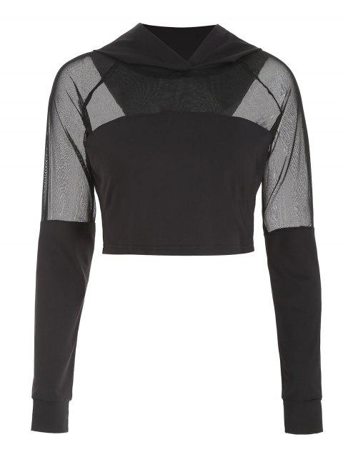 outfits ZAFUL Mesh Insert Crop Hoodie - BLACK M Mobile