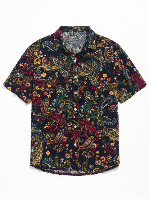 sale Paisley Print Short Sleeve Shirt - BLACK S Mobile