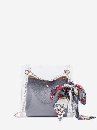 50b1ad1cf Silk Decor Transparent Chain Bucket Bag - Gray Cloud ...