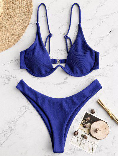 Bikini Din Bumbac Textura ZAFUL - Blueberry Blue S