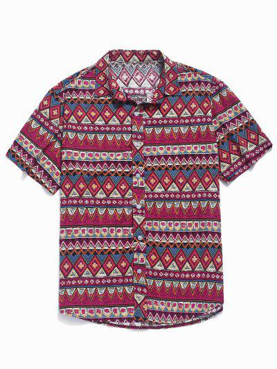 Contrast Geometric Shirt - Rose Red 2xl