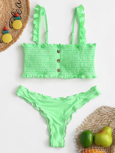 ZAFUL Button Embellished Smocked Bikini Set - Mint Green S