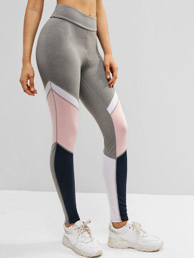 Color Block High Waisted Sports Leggings - Multi M