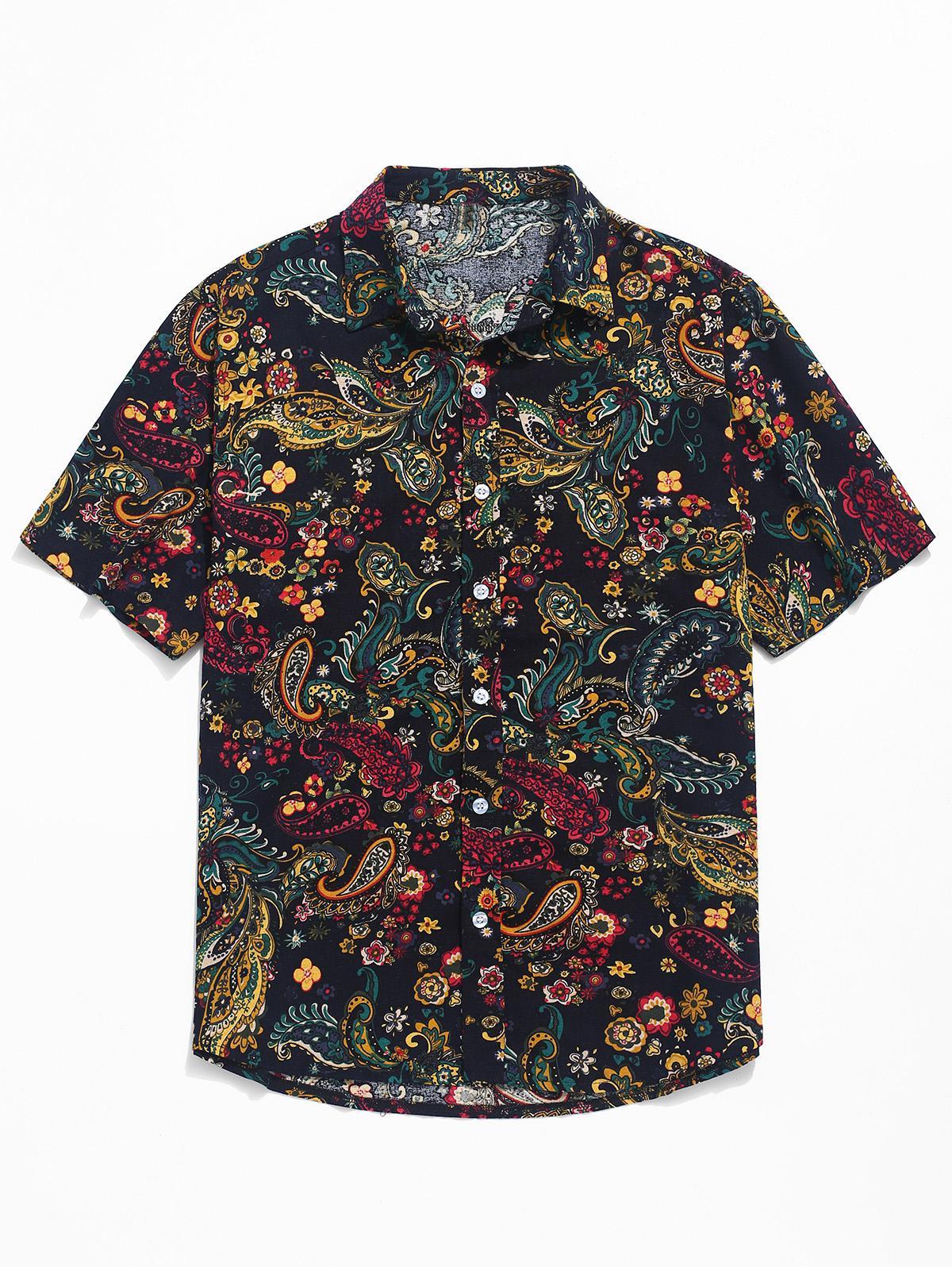 Paisley Print Short Sleeve Shirt, Black
