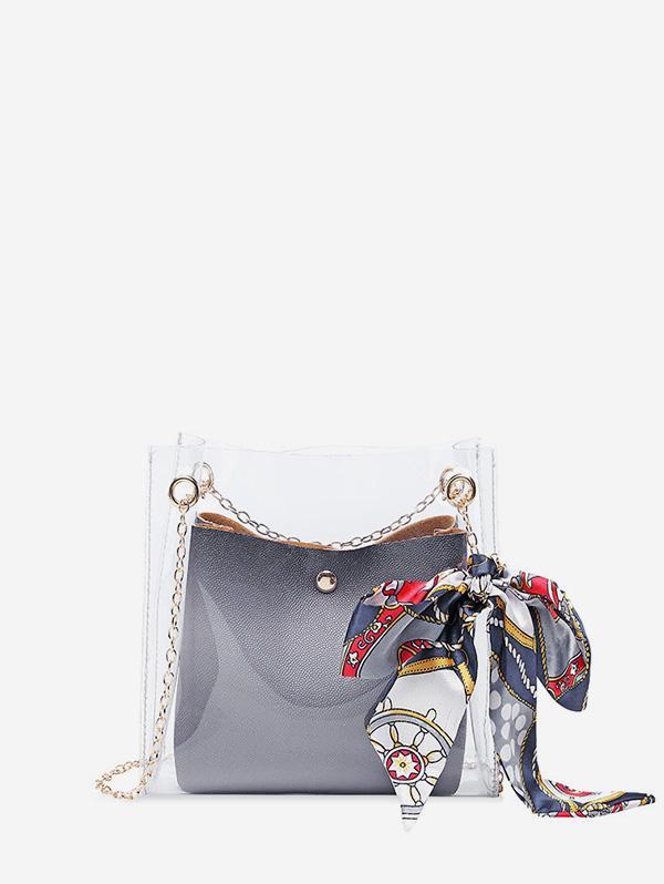 Silk Decor Transparent Chain Bucket Bag, Gray cloud