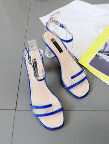 a45cfd3b31627 33% OFF] 2019 Clear Heel Transparent Mid Heel Sandals In BLUEBERRY ...