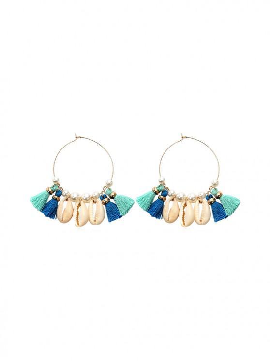 womens Bohemia Style Shell Tassel Earrings - GOLD