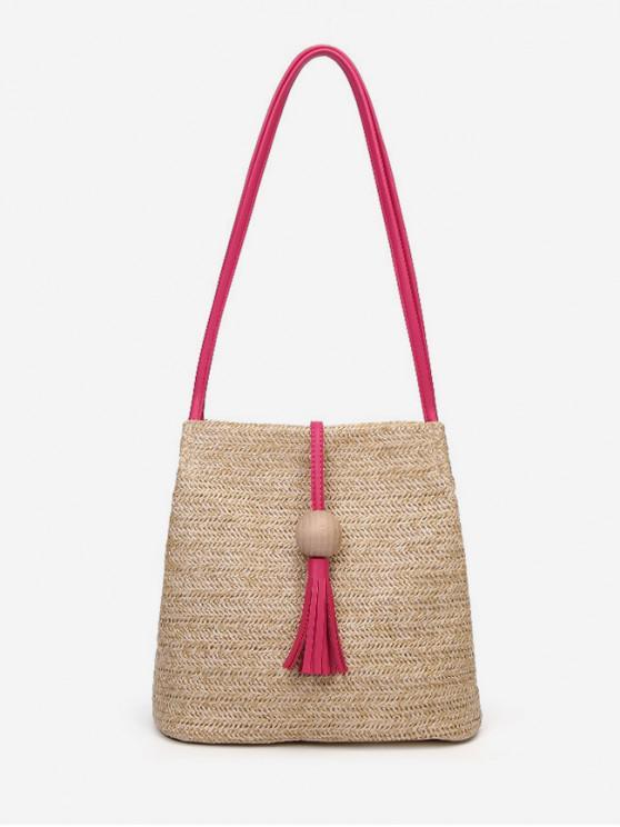 68e4e09d682136 12% OFF] [NEW] 2019 Tassel Decor Woven Straw Crossbody Bag In ROSE ...