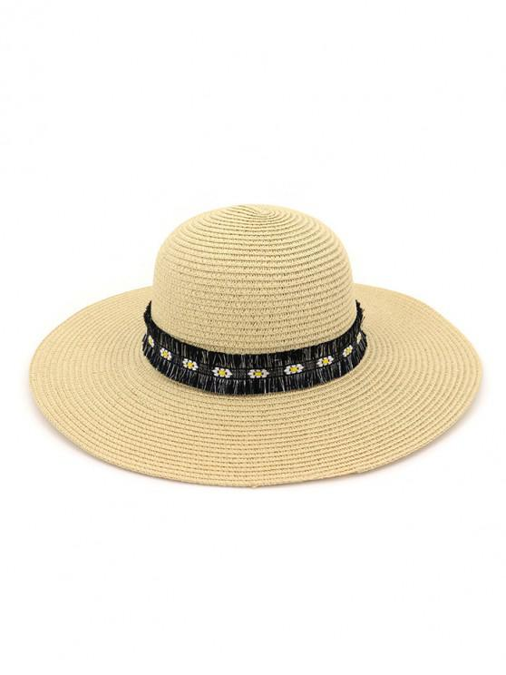 latest Flower Fringe Straw Sun Hat - BEIGE