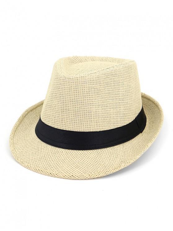 trendy Unisex Straw Jazz Hat - BEIGE
