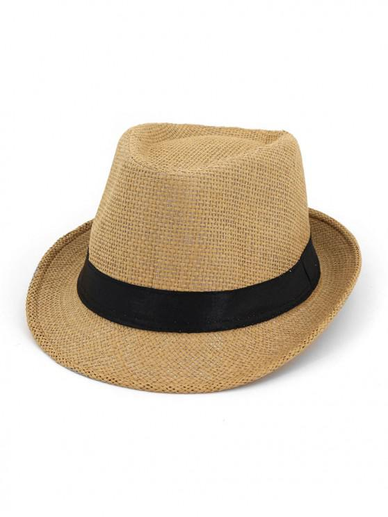 fashion Unisex Straw Jazz Hat - KHAKI