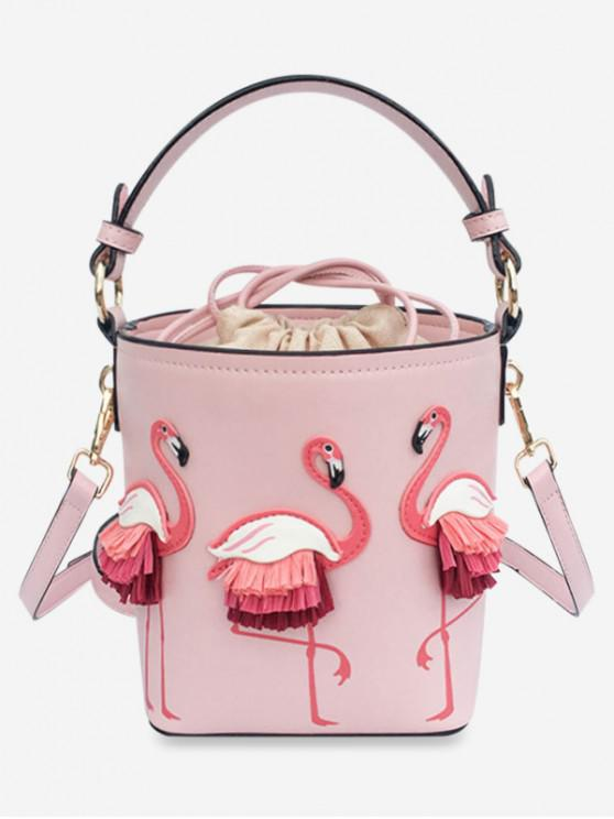 unique Flamingo Bucket String Shoulder Bag - ORANGE PINK